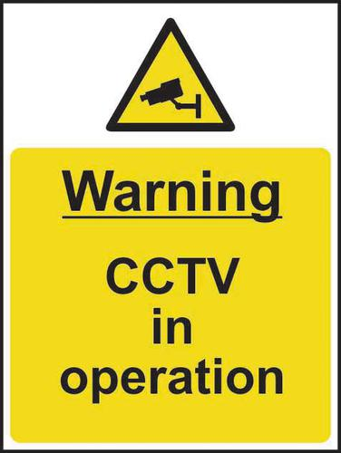 Self-Adhesive Vinyl Warning CCTV In Operation sign (300 x 400mm). Easy to use and fix.