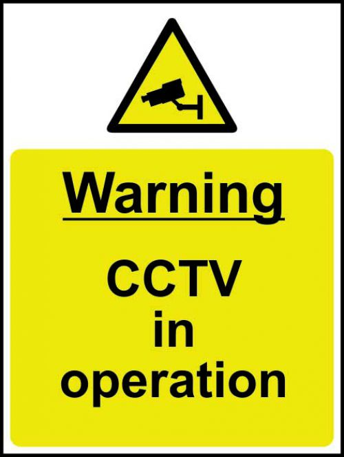 Warning CCTV In Operation sign (300 x 400mm). Manufactured from strong rigid PVC and is non-adhesive