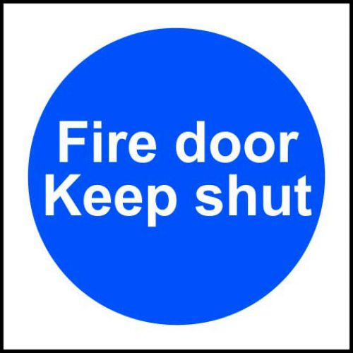 Fire Door Keep Shut sign (100 x 100mm). Manufactured from strong rigid PVC and is non-adhesive; 0.8mm thick.