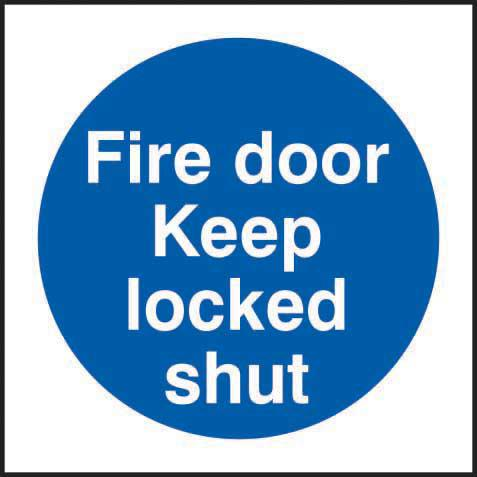 Self-Adhesive Vinyl Fire Exit Door Keep Locked Shut sign (100 x 100mm). Easy to use and fix.