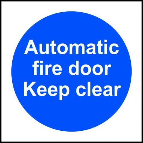 Self-adhesive vinyl Automatic Fire Door Keep Clear sign (100 x 100mm). Easy to use; simply peel off the backing and apply to a clean dry surface.