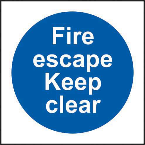 Fire Escape Keep Clear sign (200 x 300mm). Manufactured from strong rigid PVC and is non-adhesive; 0.8mm thick.