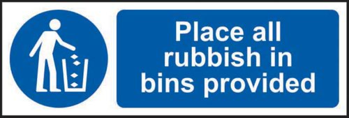Place All Rubbish In Bins Provided' Sign; Self-Adhesive Vinyl (300mm x 100mm)
