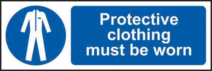 Mandatory Self-Adhesive Vinyl Sign (300 x 100mm) - Protective Clothing Must Be Worn