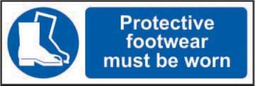 Protective Footwear Must Be Worn' Sign; Self-Adhesive Vinyl (300mm x 100mm)