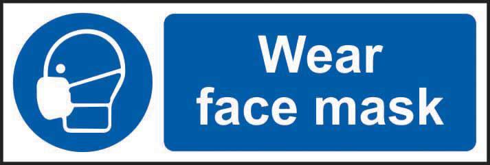 Mandatory Self-Adhesive Vinyl Sign (300 x 100mm) - Wear Face Mask