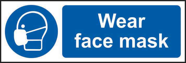 Mandatory Rigid PVC Sign (300 x 100mm) - Wear Face Mask