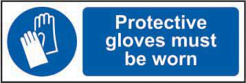 Mandatory Self-Adhesive Vinyl Sign (600 x 200mm) - Protective Gloves Must Be Worn