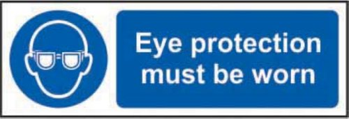 Eye Protection Must Be Worn' Sign; Non Adhesive Rigid PVC (300mm x 100mm) 1