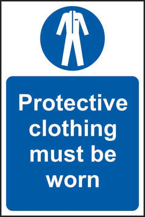 Mandatory Self-Adhesive Vinyl Sign (200 x 300mm) - Protective Clothing Must Be Worn