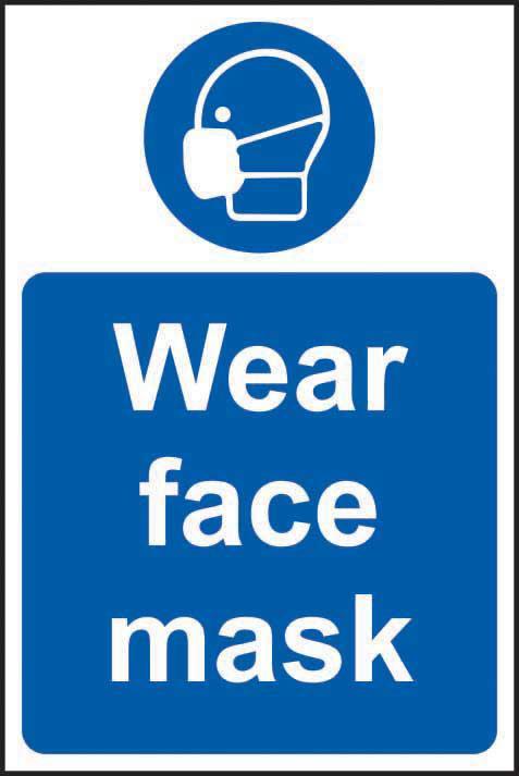 Mandatory Self-Adhesive Vinyl Sign (200 x 300mm) - Wear Face Mask