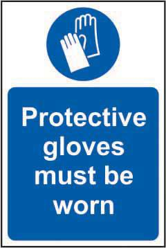 Mandatory Rigid PVC Sign (200 x 300mm) - Protective Gloves Must Be Worn