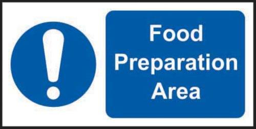 Food Preparation Area' Sign; Self-Adhesive Vinyl (200mm x 100mm)