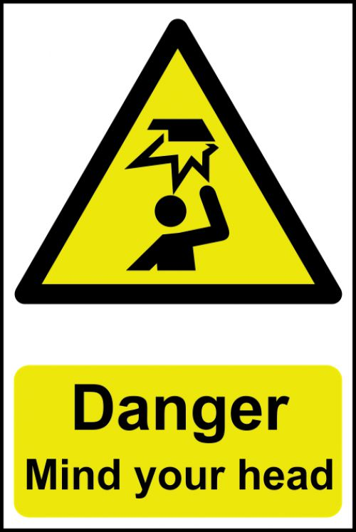 Self adhesive semi-rigid PVC Danger Mind Your Head Sign (200 x 300mm). Easy to fix; peel off the backing and apply.