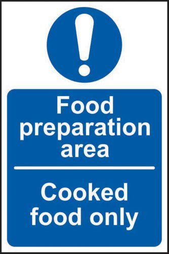 Food Preparation Area Cooked Food Only' Sign; Self-Adhesive Vinyl (100mm x 150mm)
