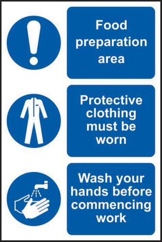 This Is A Food Production Area/Protective Clothing Must Be' Sign; Non Adhesive Rigid PVC (200mm x 300mm)