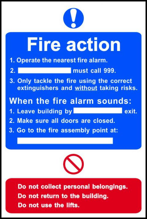 Fire Action Procedure sign (200 x 300mm). Manufactured from strong rigid PVC and is non-adhesive; 0.8mm thick.