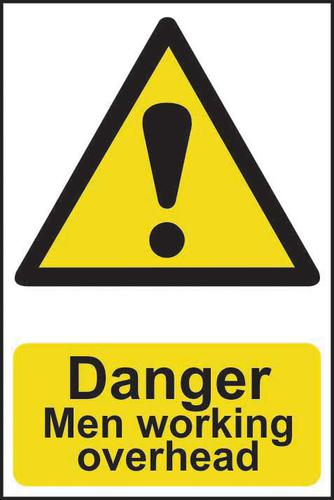 Self adhesive semi-rigid PVC Men Working Overhead sign (200 x 300mm). Easy to fix; peel off the backing and apply to a clean and dry surface.