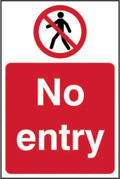 No Entry sign (200 x 300mm). Manufactured from strong rigid PVC and is non-adhesive; 0.8mm thick.