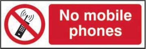 No Mobile Phones' Sign; Non Adhesive Rigid 1mm PVC Board (300mm x 100mm)