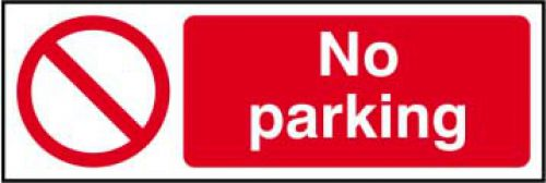 No Parking sign (600 x 200mm). Manufactured from strong rigid PVC and is non-adhesive, 0.8mm thick.