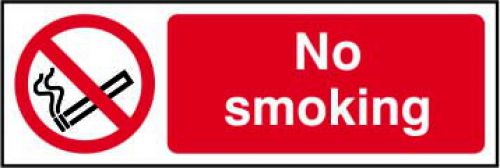 No Smoking sign (300 x 100mm). Manufactured from strong rigid PVC and is non-adhesive; 0.8mm thick.