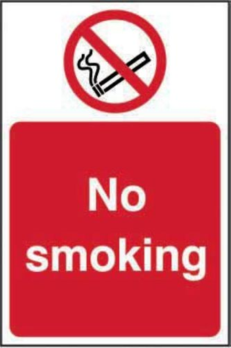 No Smoking' Sign; Non Adhesive Rigid 1mm PVC Board (100mm x 150mm)