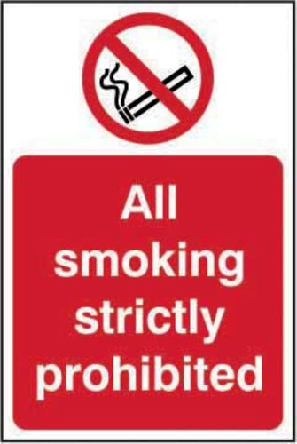 All Smoking Strictly Prohibited' Sign; Self-Adhesive Vinyl (200mm x 300mm)