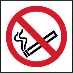 No Smoking Symbol sign (100 x 100mm). Manufactured from strong rigid PVC and is non-adhesive; 0.8mm thick.