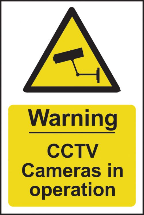 Warning CCTV In Operation sign (148 x 210mm). Manufactured from strong rigid PVC and is non-adhesive; 0.8mm thick.