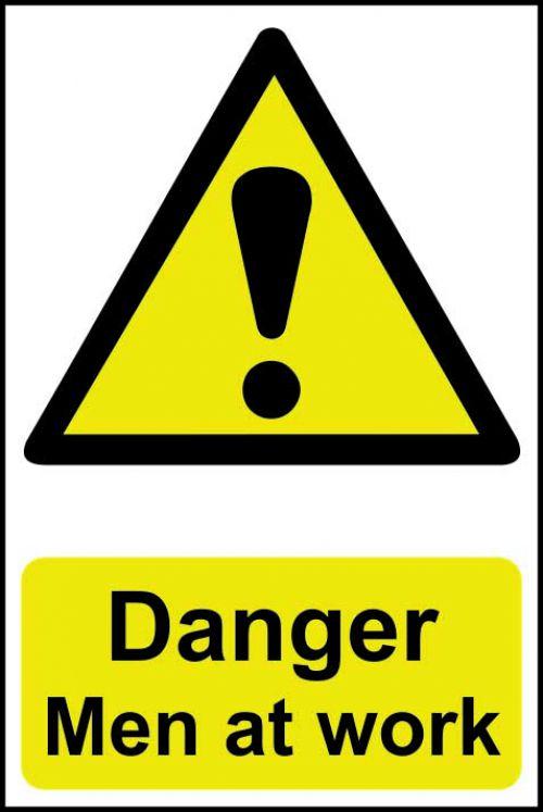 Self adhesive semi-rigid PVC Danger Men At Work Sign (200 x 300mm). Easy to fix  peel off the backin