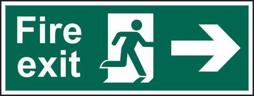 Self-Adhesive Vinyl Fire Exit Man Arrow Right sign (600 x 200mm). Easy to use and fix.