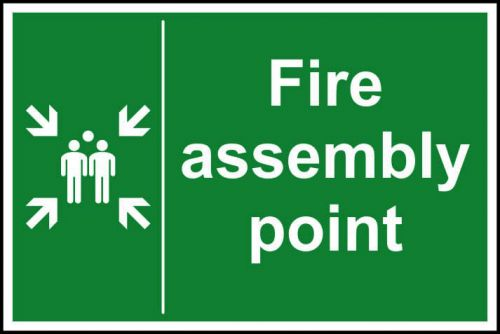 Fire Assembly Point sign (400 x 600mm). Manufactured from strong rigid PVC and is non-adhesive; 0.8mm thick.