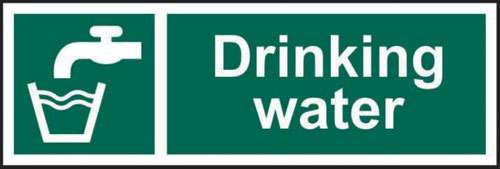 Drinking Water' Sign; Self-Adhesive Vinyl (300mm x 100mm)