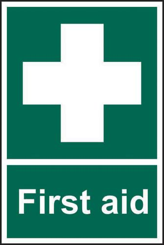 First Aid Sign (200 x 300mm). Manufactured from strong rigid PVC and is non-adhesive; 0.8mm thick.