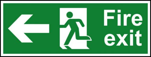 Fire Exit sign with running man and arrow left (400 x 150mm). Manufactured from strong rigid PVC and is non-adhesive; 0.8mm thick.