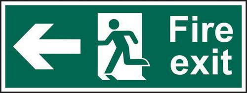 Fire Exit Man Arrow Left sign (600 x 200mm). Manufactured from strong rigid PVC and is non-adhesive; 0.8mm thick.