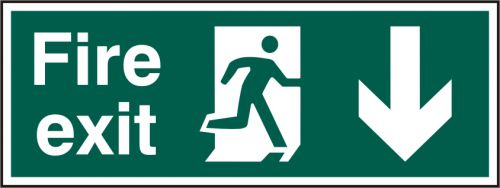 Self-Adhesive Vinyl Fire Exit sign with running man and arrow down (400 x 150mm). Easy to use and fix.