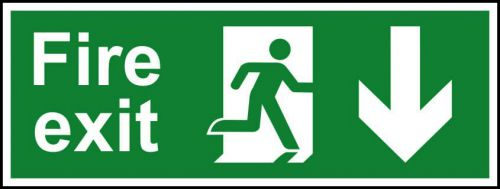 Fire Exit sign with running man and arrow down (400 x 150mm). Manufactured from strong rigid PVC and is non-adhesive; 0.8mm thick.