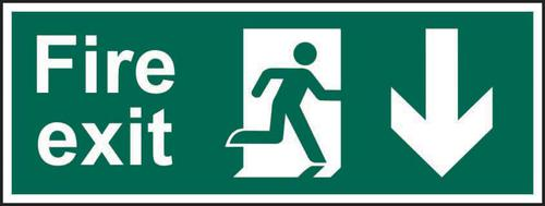 Fire Exit Man Arrow Down sign (600 x 200mm). Manufactured from strong rigid PVC and is non-adhesive; 0.8mm thick.