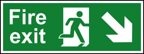 Fire Exit sign with running man and arrow down right (400 x 150mm). Manufactured from strong rigid PVC and is non-adhesive; 0.8mm thick.