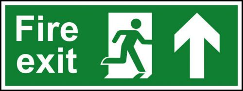 Self-Adhesive Vinyl Fire Exit sign with running man and arrow up (400 x 150mm). Easy to use and fix.