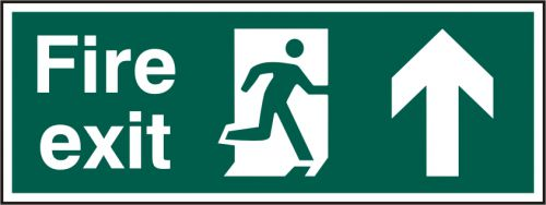 Fire Exit sign with running man and arrow up (400 x 150mm). Manufactured from strong rigid PVC and is non-adhesive; 0.8mm thick.