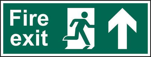 Fire Exit Man Arrow Up sign (600 x 200mm). Manufactured from strong rigid PVC and is non-adhesive; 0.8mm thick.