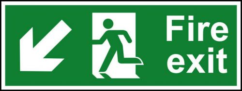 Fire Exit sign with running man and arrow down left (400 x 150mm). Manufactured from strong rigid PVC and is non-adhesive; 0.8mm thick.
