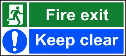 Self-Adhesive Vinyl Fire Exit Keep Clear safety instruction sign with running man and arrow down right (400 x 150mm). Easy to use and fix.