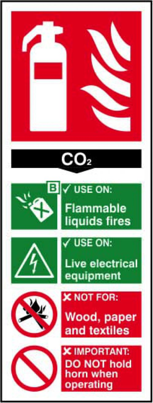 Fire Extinguisher Composite CO2 sign (82 x 202mm). Manufactured from strong rigid PVC and is non-adhesive; 0.8mm thick.