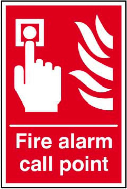 Fire Alarm Call Point sign (200 x 300mm). Manufactured from strong rigid PVC and is non-adhesive; 0.8mm thick.