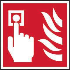 Fire Alarm Call Point Symbol sign (200 x 200mm). Manufactured from strong rigid PVC and is non-adhesive; 0.8mm thick.