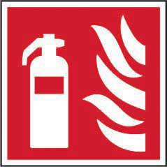Fire Extinguisher Symbol sign (200 x 200mm). Manufactured from strong rigid PVC and is non-adhesive; 0.8mm thick.